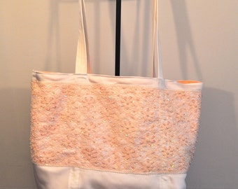 Sunset peach and white bridal tote bag lace and beaded brides bag