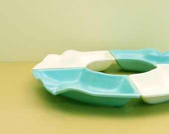 California USA Pottery Serving Snack Relish Set Turquoise and White Ceramic Sectional Platter 4 Pieces