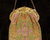 RESERVED botrade Rare 1900s Pastel Steel Beaded Floral Design Large Size Bag/Purse - Item #131, Purses