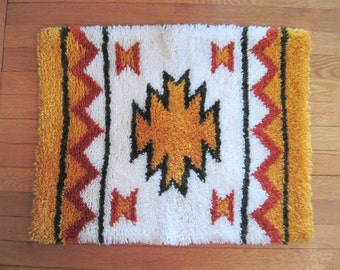 1970s Bohemian Shag Area Rug -  vintage Tribal doormat, Native American Inspired bath mat - Orange, Brown, and White