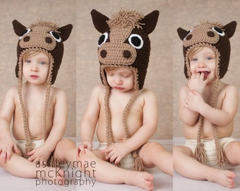 Crochet Pattern, Horse Hat, Unicorn Hat