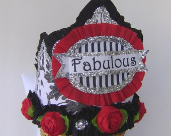 Birthday party Crown, birthday party Hat, party hat, red and black birthday hat,  FABULOUS or customize
