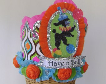 Poodle Birthday party Crown, poodle birthday hat, vintage birthday party crown, customize