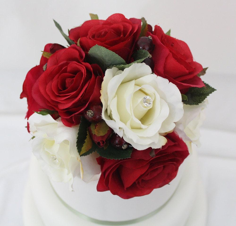 Silk Flower Wedding Cake Toppers: Wedding Cake Topper Red White Rose Silk Flower Cake Topper