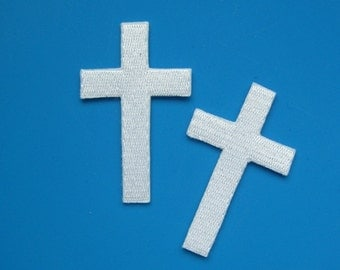 2 pcs iron-on Embroidered Patch Cross 2.4 inch