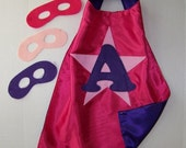 Personalized, CUSTOMIZED, Double Sided with MASK  Superhero Party CAPES 4 Kids