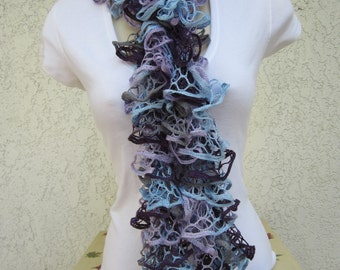 Ruffled Scarf in Eventide (Purple, Blue, Gray) READY TO SHIP