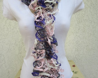 Ruffled Scarf in Purple Delight (Purple, Pink, Gray, White) READY TO SHIP