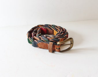 Vintage 80s Color Block Leather Belt - Women M - Boho