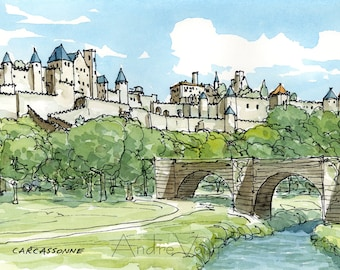 Carcassonne  France art print from an original watercolor painting