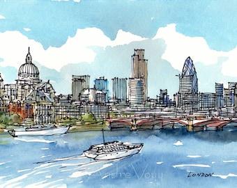 London Thames Panorama art print from an original watercolor painting