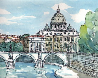Rome Sant Angelo Bridge Italy art print from an original watercolor