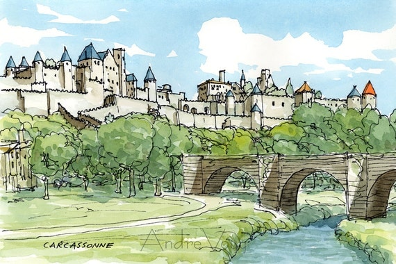 carcassonne france art print from an original watercolor. Black Bedroom Furniture Sets. Home Design Ideas