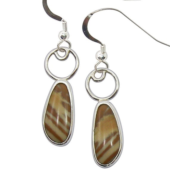Picture Jasper Earrings set in Sterling Silver epjd2127