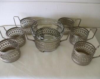 Demitasse Cup Holders with Sugar Bowl,  (set 6)   Vintage