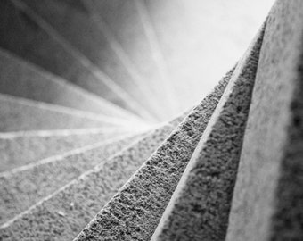 Spiral Staircase 30x30 : black and white photo stairway steps photography geometric home decor fine art print