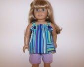 Striped shorts and top for American Girl doll 18 inch doll summer outfit purple green blue stripes