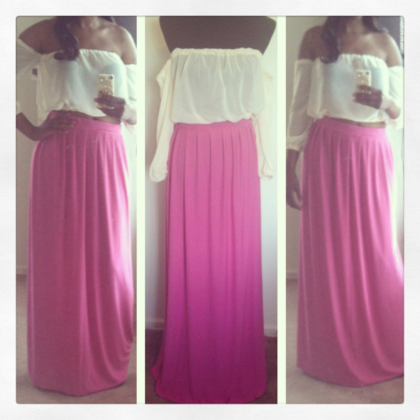 gum pink pleated maxi skirt by foxxiladi on etsy