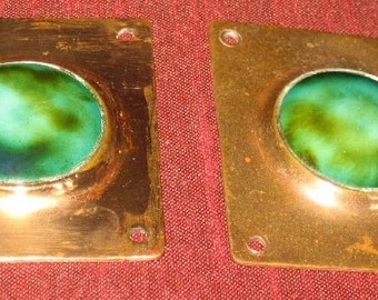 Two Vintage English Arts and Crafts Era Enamel and Copper Pieces Adornments