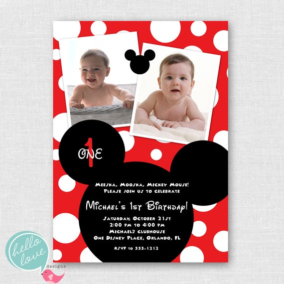 mickey mouse printable birthday invitation by hellolovedesigns