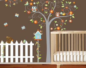 Swirl tree with lilac flowers birds,birdhouse,fence,branch Nursery Vinyl Wall Decal Sticker