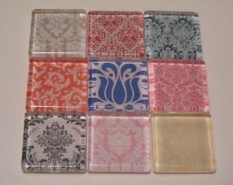 Damask Refrigerator Magnets, Set of 9 Fridge Magnets