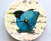 Small wall clock. Blue Bird. Shabby chic. Clock for a bird lover.
