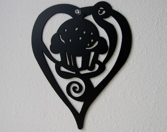 Cupcake and Heart Metal Wall Hanging Kitchen Decoration- Metal Art