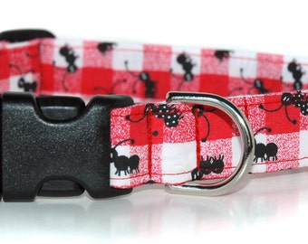 Picnic Friends, Red Check Dog Collar