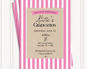 Preppy Pink Party Invitation Graduation, Surprise, 16, 21st, 25, 30, 40, 50