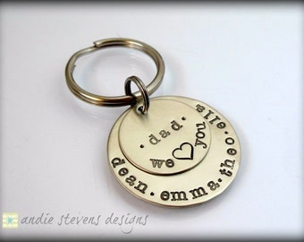 Customized Keychain - Personalized Hand Stamped Keychain - Grandpa Daddy Unisex gift - Children's Names