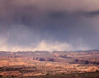 Purple Storm Desert Landscape, Storm Photograph, Desert Photography