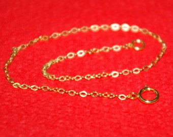 14kt GOLD FILLED Fine 1.5x2mm Flat Cable Chain BRACELET - Custom made to your size - Free Shipping Worldwide