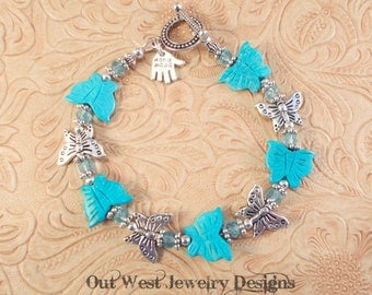 Gypsy Cowgirl Bracelet - Carved Aqua Howlite Turquoise and Tibetan Silver Butterflies