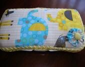 Jungle animals in blue baby wipe case