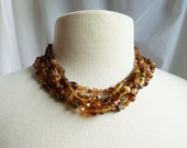 Vintage Necklace / Brown Multi Strand Necklace