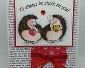 Handmade Card, Greetings, Gift, Valentine, Penny Black - Valentine Stuck on You Hedgie