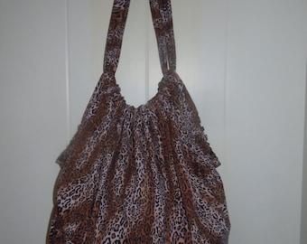 SALE - Cheetah Print Cotton Slouchy Overnighter Bag Shoulder Sac
