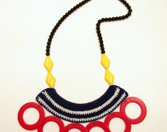 Nautical Crocheted Fiber Acrylic Beads Statement Handmade Necklace