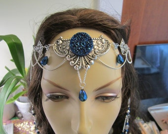 Cobalt Circlet of the Crystal Mage Elven Celtic Druid LARP Cosplay Bridal