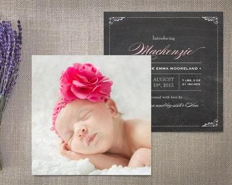 Photo Birth Announcements, Chalkboard Square