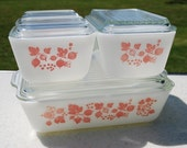 Four Dish Set of Pink Pyrex Gooseberry Fridge Dishes
