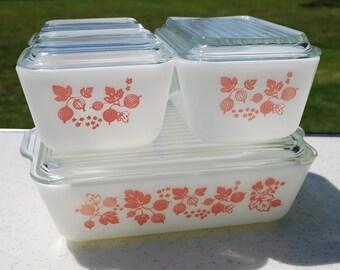 Four Dish Set of Pink Pyrex Gooseberry Fridge Dishes