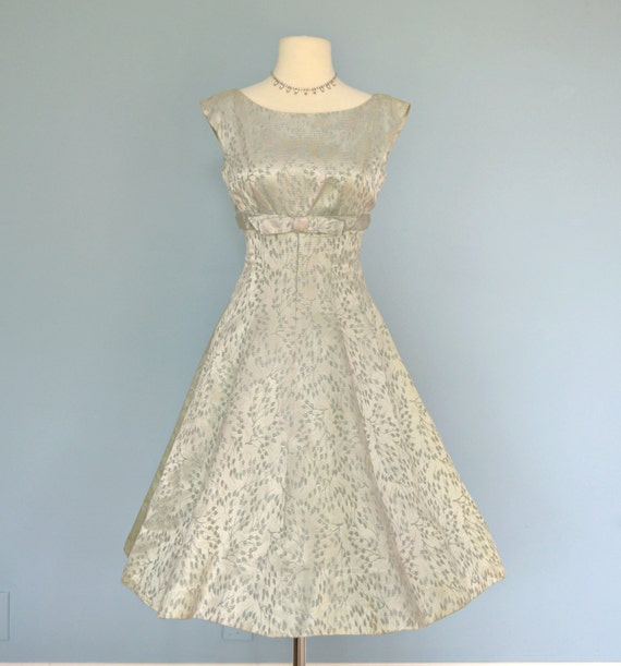 Vintage 1950s Dress...Sophisticated Mint Green Brocade JERRY
