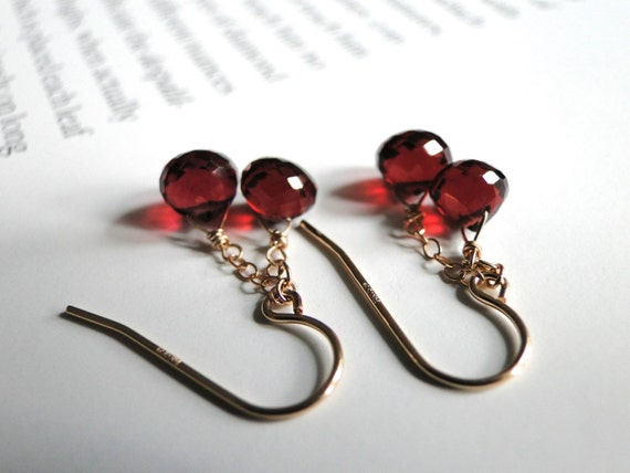 SALE Last Pair 14k Gold Filled Earrings, Genuine Briolette Deep Red Garnet Gemstones, Holiday Gift, 14k Gold Filled Hoops, Gift Box