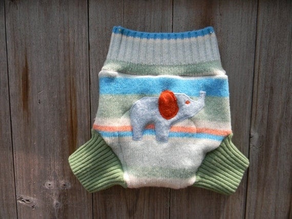 Upcycled Wool Soaker Cover Diaper Cover With Added Doubler Pastel Color GAP Stripes With Elephant Applique LARGE 12-24M Kidsgogreen
