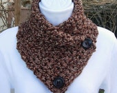 NECK WARMER Cowl SCARF Brown Tan Rust Tweed w/ Wood Buttons, Extra Soft Acrylic Crochet Knit Buttoned Scarflette..Ready to Ship in 2 Days