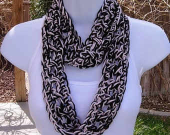 SUMMER SCARF Infinity Loop, Pale Light Pink & Black Soft Lightweight Small Circle Cowl Crocheted Necklace, Neck Tie..Ready to Ship in 2 Days