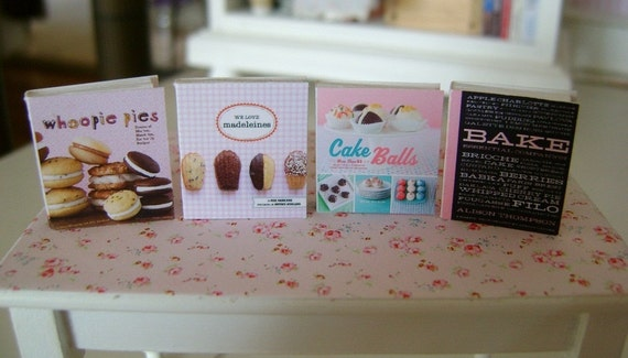 BAKING COOKBOOKS - Whoopie Pies Cake Balls Madeleines - Dollhouse Miniature 1:12 Scale