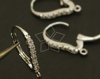 EA-106-OR / 2 Pcs - Cubic One-Touch Dop Earring Findings, Silver Plated over Brass / 12.8mm x 18mm
